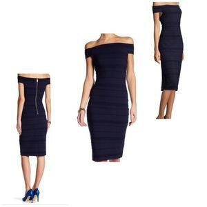Ted Baker Dark Blue Inan Bardot Dress US 4 NWT
